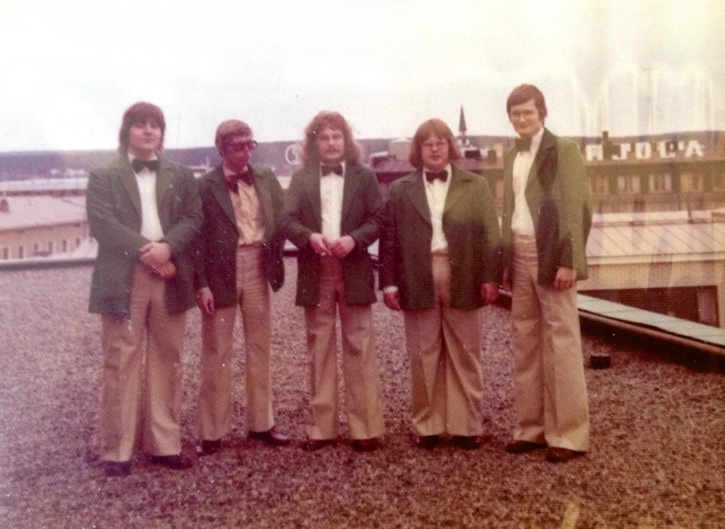 Mikko Virto 5 Polar Rovaniemen katolla toukokuussa 1974. Vas: Mikko, Juha Flinck, Markku Leinonen, Erkki Karbin ja Heikki Kalso.
